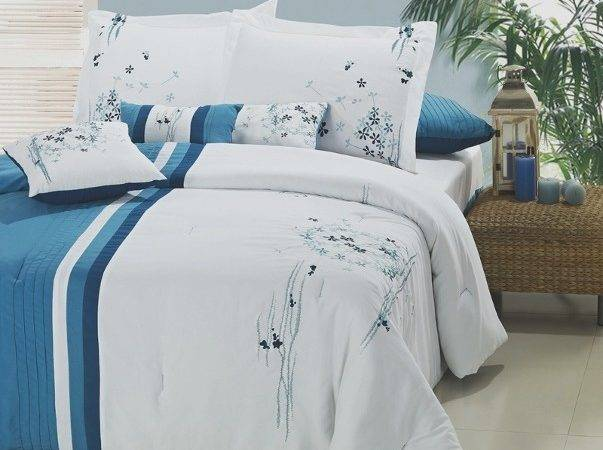 Abbey Teal White Floral Embroidered Comforter Set