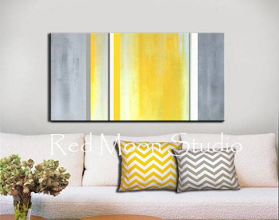 Abstract Art Yellow Gray Grey Painting Large