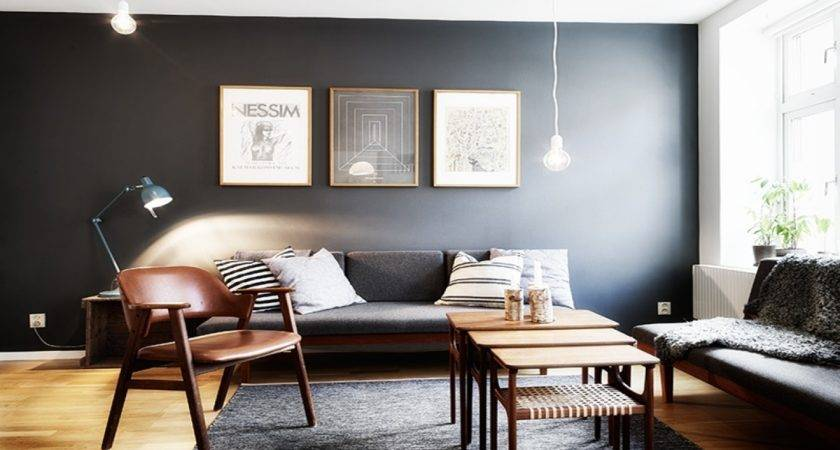 Accent Wall Grey Living Room Modern House