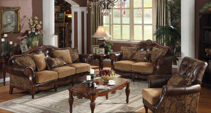 Acme Dreena Traditional Bonded Leather Chenille Living