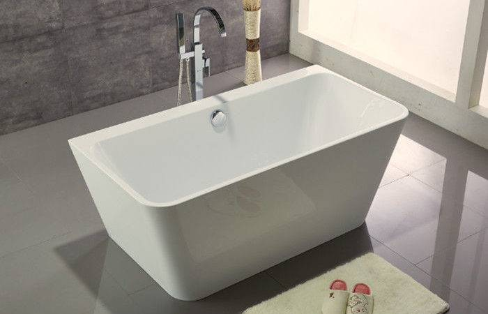Acrylic Resin Square Freestanding Bathtub Contemporary