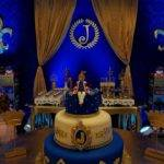 Aesthetic Ideas Royal Blue Gold Baby Shower Cake