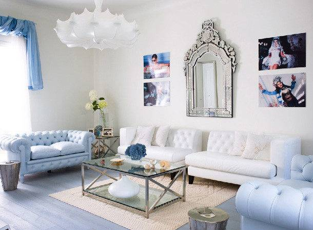 Amazing Light Blue White Living Room