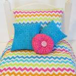 American Girl Doll Bedding Multi Colored Chevron