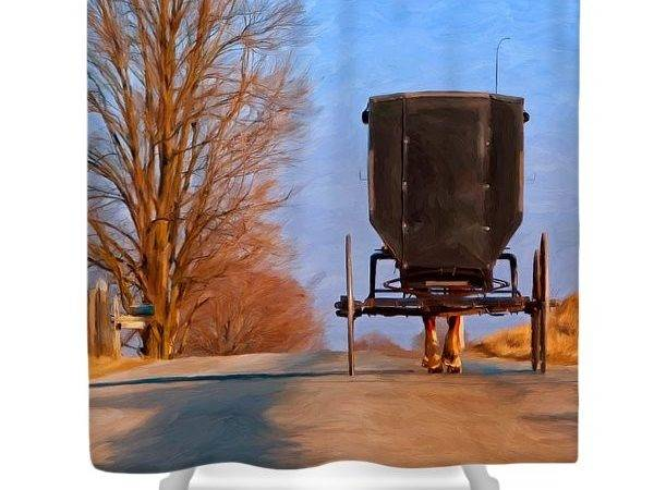 Amish Horse Paintings Shower Curtains Sale