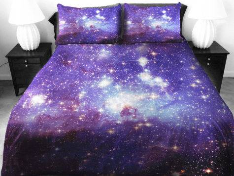 Anlye Galaxy Bedding Sets Bright Purple Comforter Cover