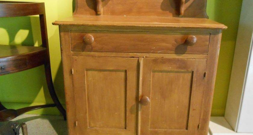 Antique Grain Painted Wash Stand Cottage Furniture