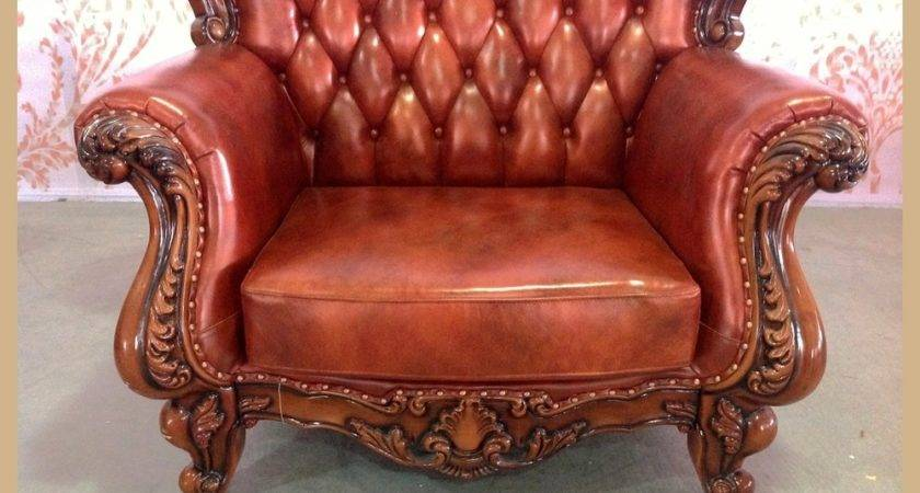 Antique Red Leather Sofa Hereo