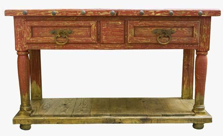 Antique Red Sofa Table Hereo