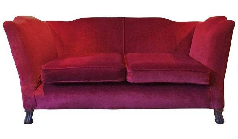 Antique Sofa Settee Knoll Style Victorian Century Red