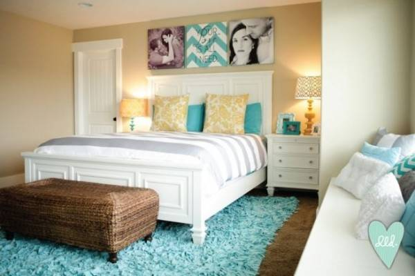 Aqua Teal Mustard Grey White Master Bedroom Design