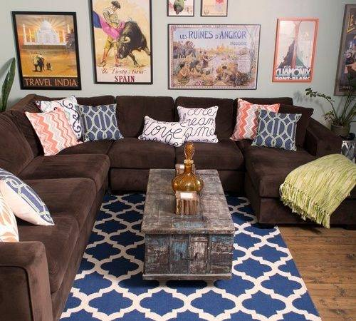 Inspiring Brown Couch Blue Rug Photo