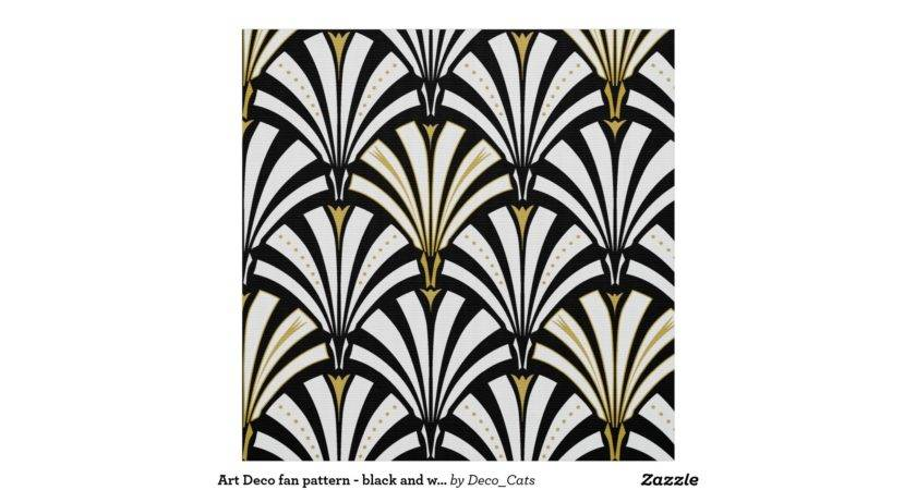 Art Deco Fan Pattern Black White Fabric