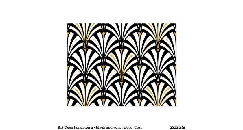 Art Deco Fan Pattern Black White Postcard Zazzle
