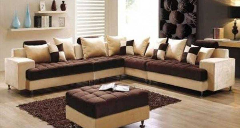 Attractive Cheap Living Room Furniture Set Brown Cream