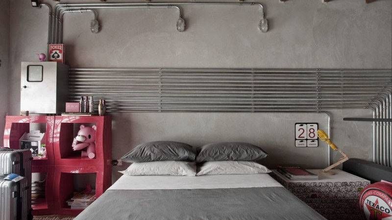 Awesome Industrial Bedroom Design Ideas Concrete Wall