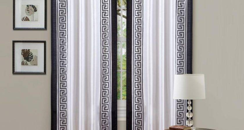 Awesome White Black Curtains Living Room