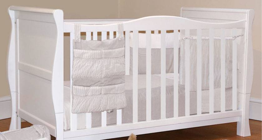 Baby White Sleigh Cot Bed Cotbed Luxury Mattress