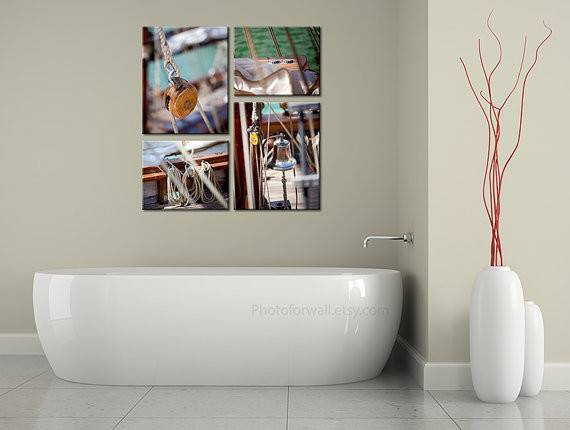 Bathroom Beach Decor Set Prints Boat Photoforwall