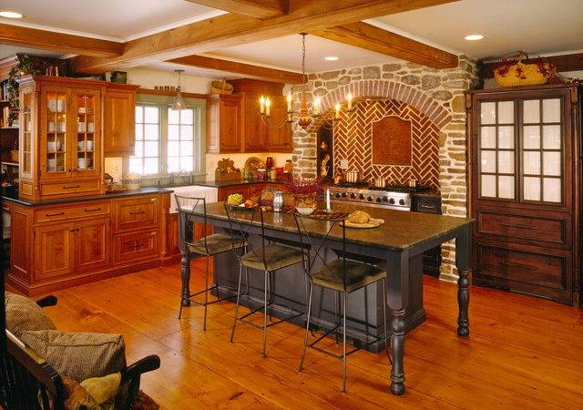 Beaded Inset Cabinetry Cherry Stone Archway