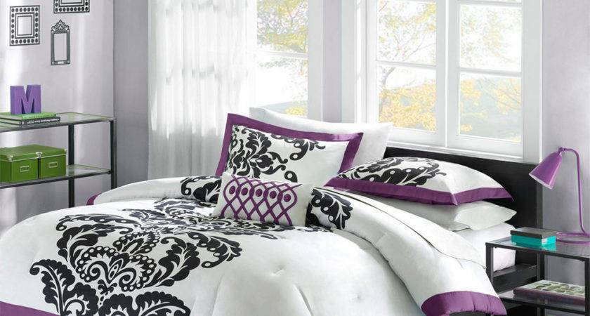 Beautiful Chic Purple White Black Modern Girls Comforter