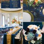Beautiful Gold Navy Blue Wedding Style