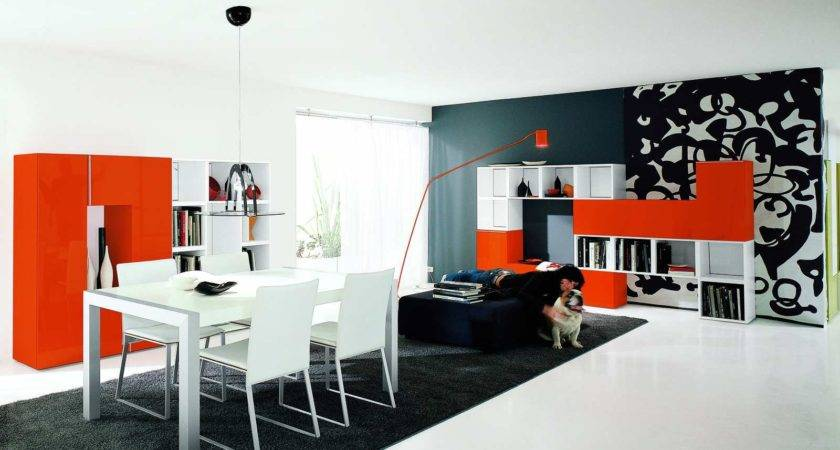Beautiful Home Red Black White Living Room Inspiration