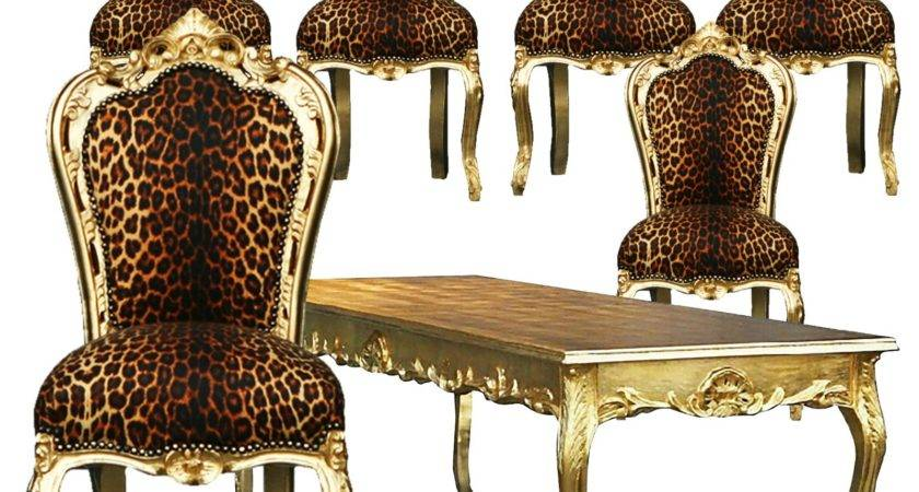 Beautiful Leopard Print Gold Table Dining Room Chairs