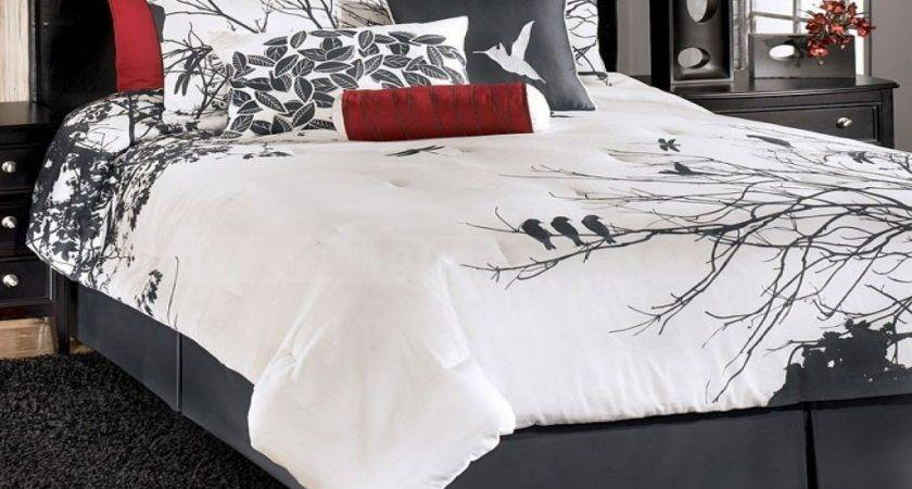 Bed Set Grey Yellow Bedding Red