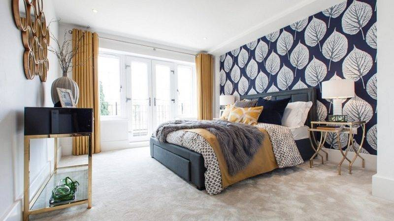 Bedroom Designs Navy Blue Gold Accents Home