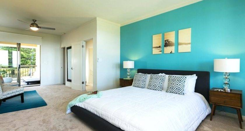 Bedroom Turquoise Accents Fabulous Teal Feature Wall