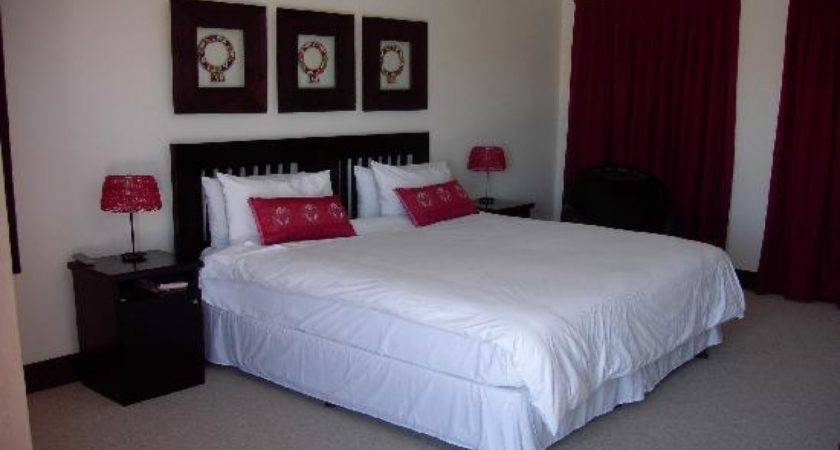 Beige Black Bedroom Red White Country