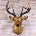 Big Gold Deer Head Wall Decor Stag