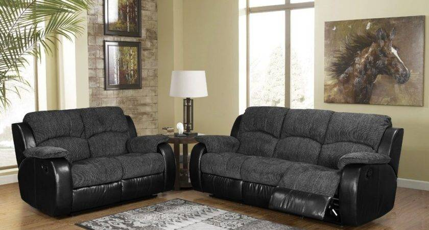 Black Leather Fabric Seater Recliner