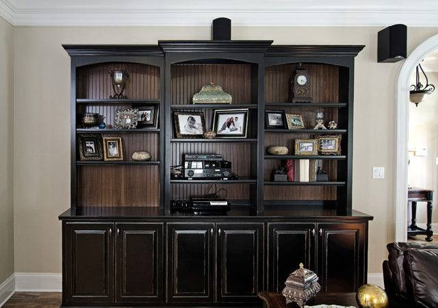 Black Painted Bookcase Beadboard Interior