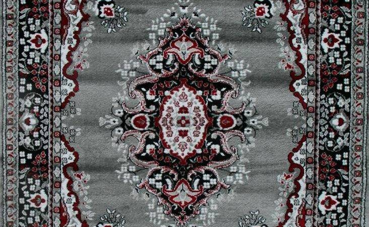 Black Red Gray Oriental Area Rug Persian New Carpet