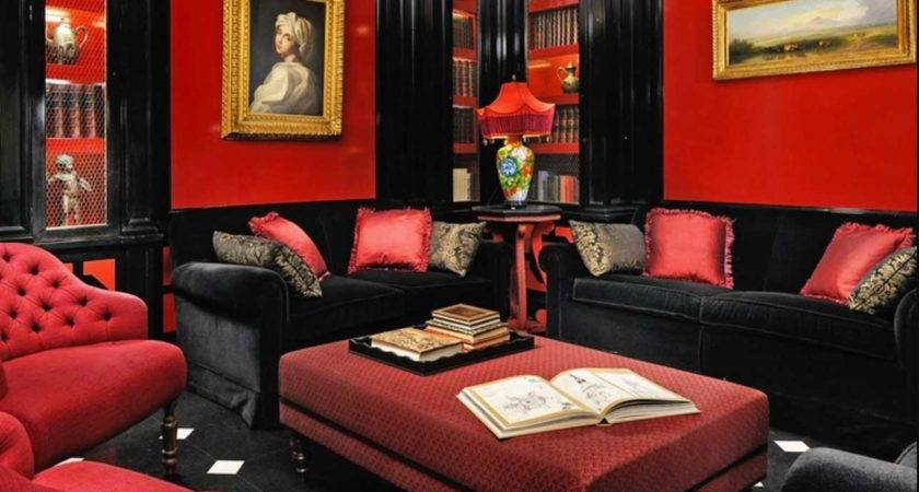 Black Red Living Room White Livingroom Design