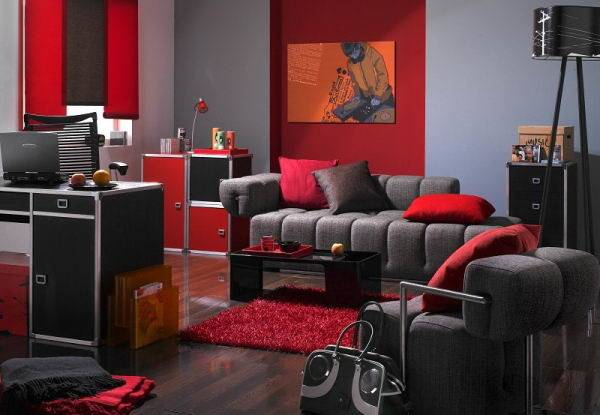 Black Red Living Rooms Decorating Ideas