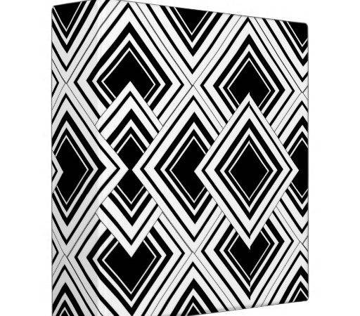 Black White Art Deco Design Binders Zazzle
