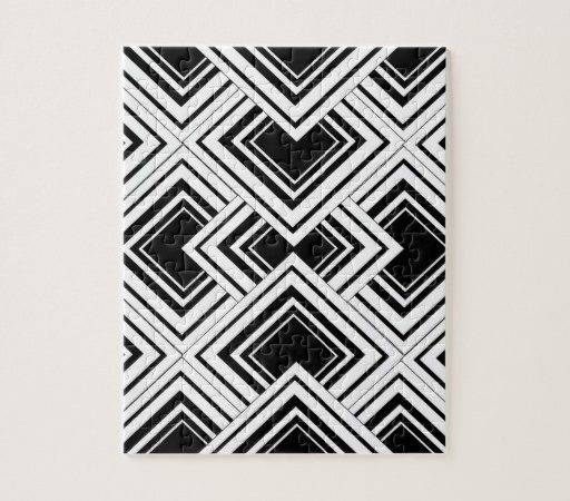 Black White Art Deco Design Puzzle Zazzle