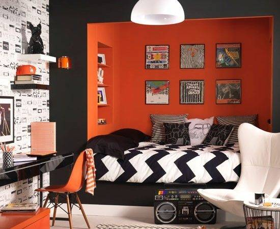 Black White Bedroom Orange Feature Wall