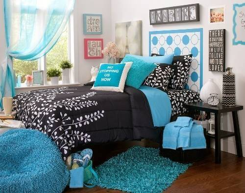 Black White Bedrooms Blue Accents Home Designs