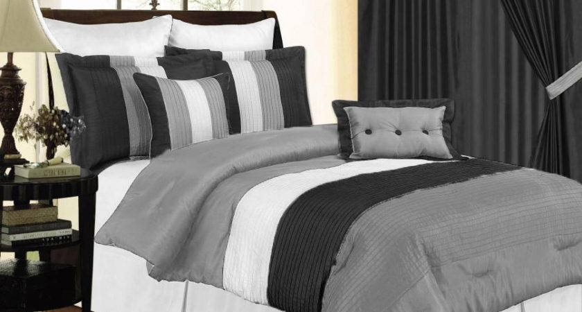 Black White Gray Comforter Set King Faux Silk