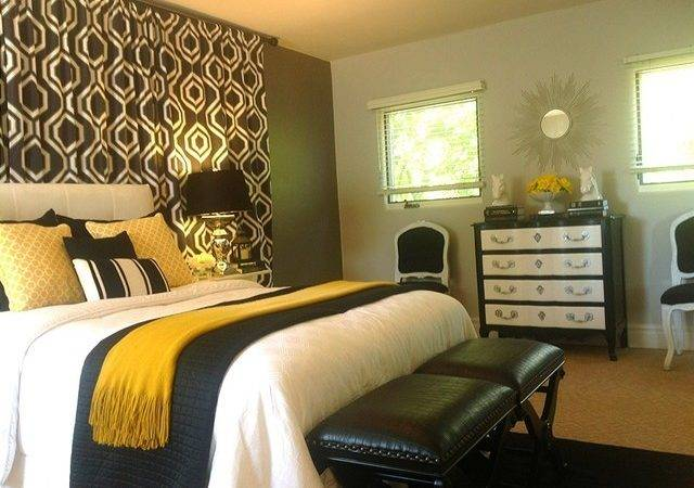 Black White Grey Gold Bedroom Contemporary