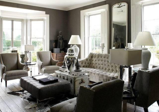 Black White Grey Living Room Design Grasscloth