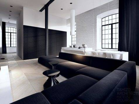 Black White Interior Vision Striking Loft