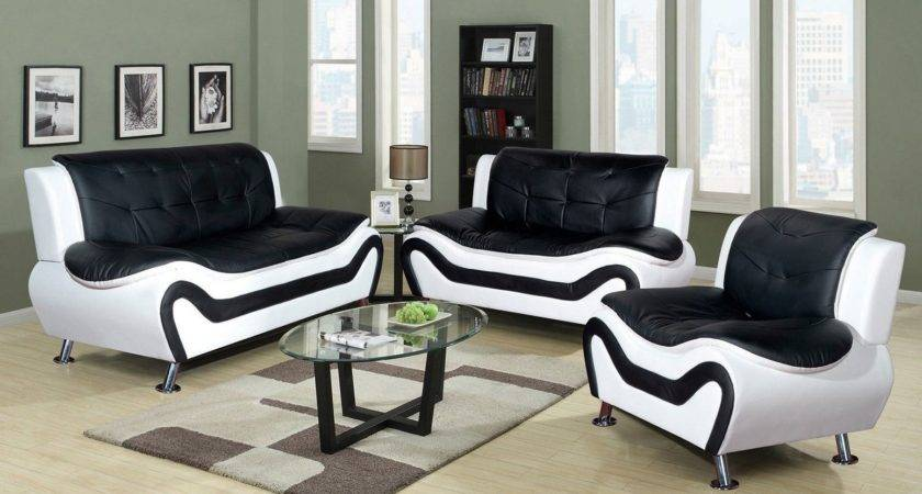 Black White Living Room Furniture Wood Frame