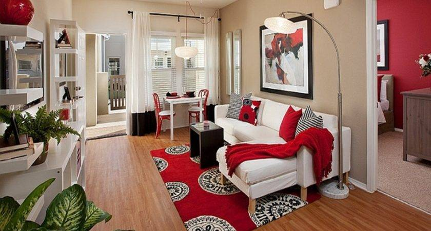 Black White Living Room Red Idea