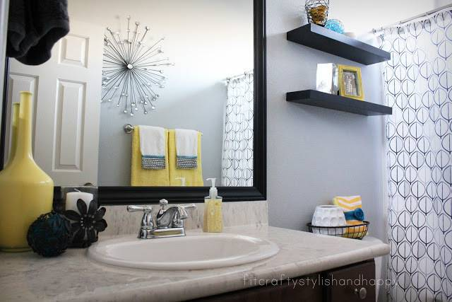 Black White Yellow Bathroom Grasscloth