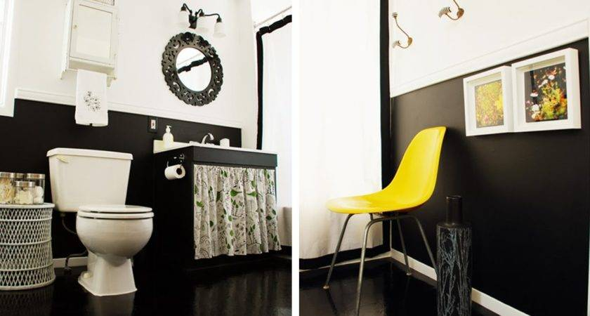 Black White Yellow Bathroom